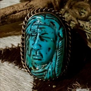 "F. Gomez Handcarved Turquoise ""The Warrior"""